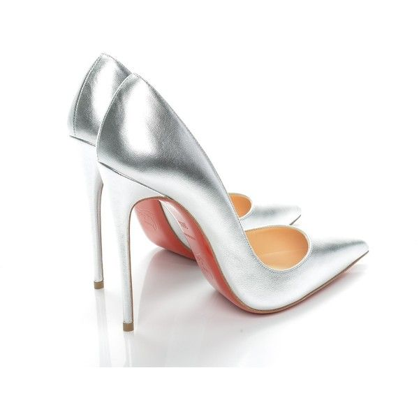 CHRISTIAN LOUBOUTIN Metallic Kidskin So Kate 120 Pumps 35.5 Silver ❤ liked on Polyvore featuring shoes, pumps, red high heel pumps, metallic pumps, red stilettos, silver evening shoes and red pointed-toe pumps