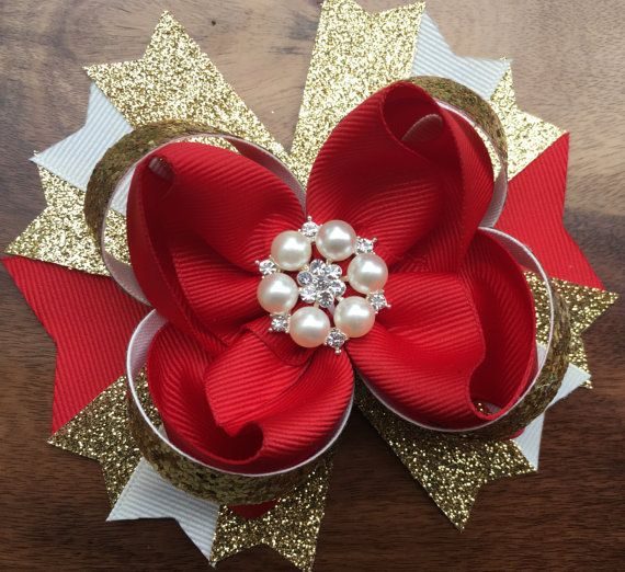 Hey, I found this really awesome Etsy listing at https://www.etsy.com/listing/494684563/red-gold-and-ivory-hair-bow-holiday-hair