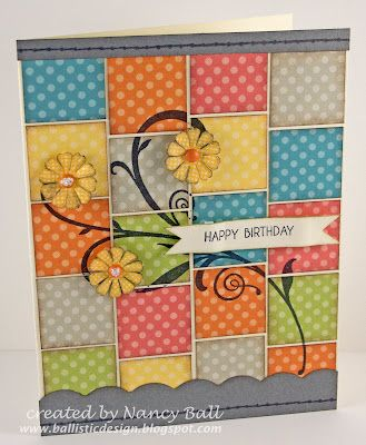 How cool is this background - great for scraps!: Scrapbook Ideas, Cute Cards, Cards Ideas, Nancy Crafty, Patchwork Cards, Die Cut Cards, Nancy Ball, Ctmh Dotty, Crafty Blog