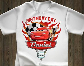 5cfdea0f0 Disney Cars Birthday iron on transfer shirt Lightning McQueen Tee Tees T-Shirt  Cars Personalized Cars Printables tshirt iron on transfer