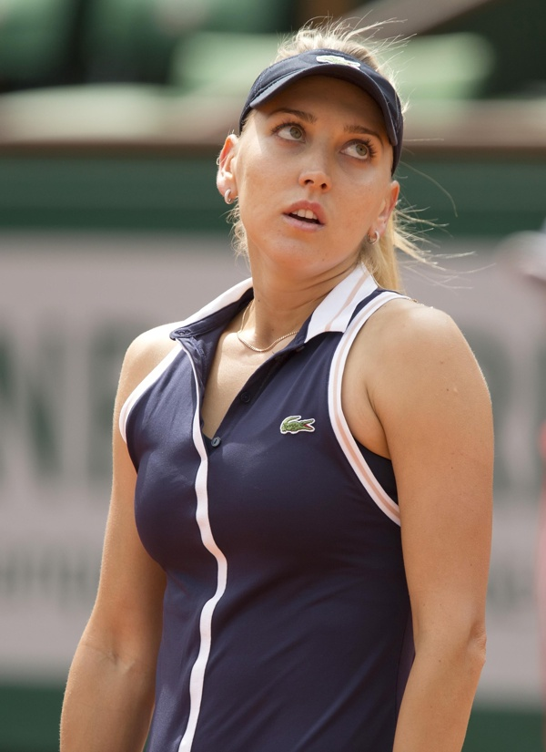 May 29, 2013; Paris, France; Elena Vesnina (RUS) reacts during her match against Victoria Azarenka (BLR) on day four of the 2013 French Open at Roland Garros. (Susan Mullane-USA TODAY Sports)