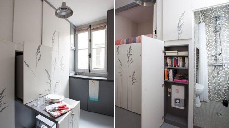 All'ultimo piano di un edificio di Parigi uno spazio di soli 8 mq è stato trasformato in un mini appartamento funzionale e vivibile. La ristrutturazione, eseguita da Kitoko Studio, ha permesso di sfruttare ogni angolo, razionalizzando i volumi e integrando i complementi di arredo ''a scompars