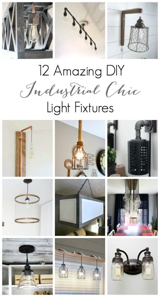 An inspiring collection of DIY Industrial Chic Light Fixtures! There's something for every room in the house! LOVE these lighting ideas!