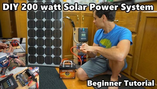 Diy 200 Watt 12 Volt Solar Power System The Minimalist Beginner Tutorial Will Prowse Rv Living And Off Grid So Solar Power System Solar Power Rv Solar Power