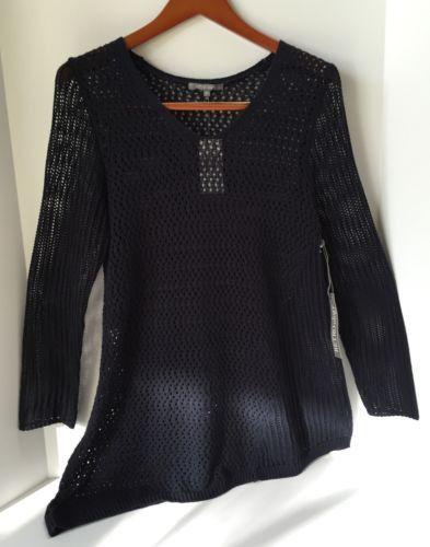 New Women's Medium Navy Blue Spring Tunic V Sweater - Beach & Resort Wear
