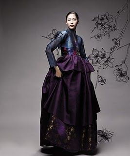 Modern Korean hanbok, idea picture with drawings of Surinam flowers