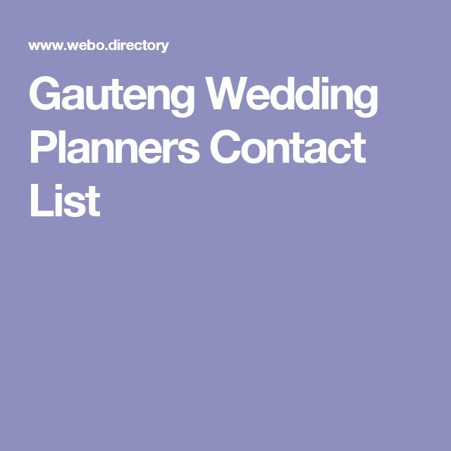 Gauteng Wedding Planners Contact List