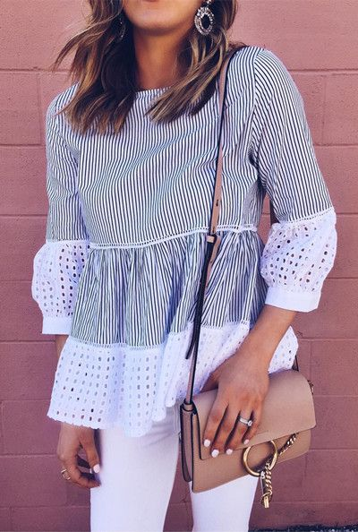 Get glam with glee in this dolly top. Eyelet Glee Striped Dolly Top in White (Item Number: T20170309007) featured by Cellajane Blog