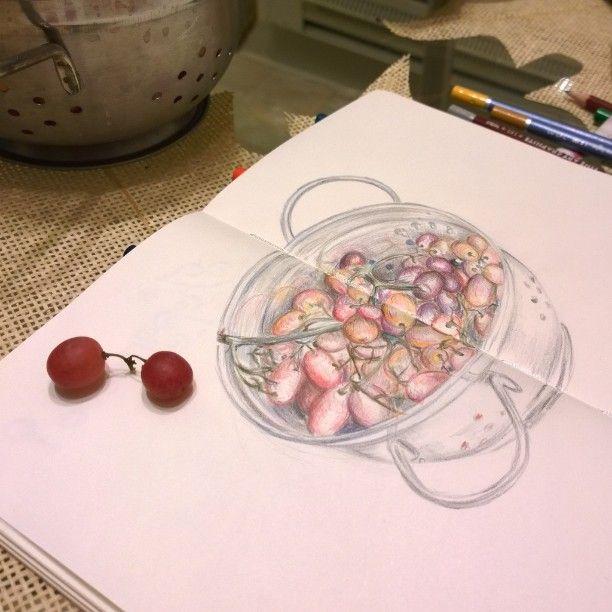 grapes drawing by mila_hofman