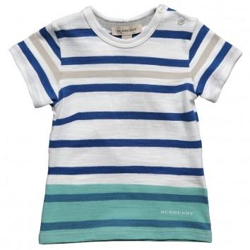 Burberry Boys Blue Stripe Cotton T-Shirt