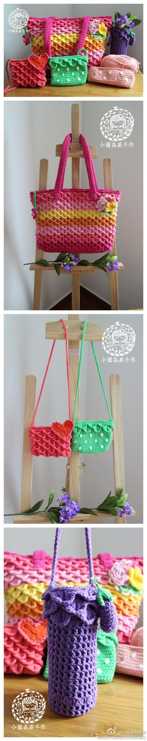 Bolsa a crochet..tutorial..手工 生活 钩针 钩花 艺术