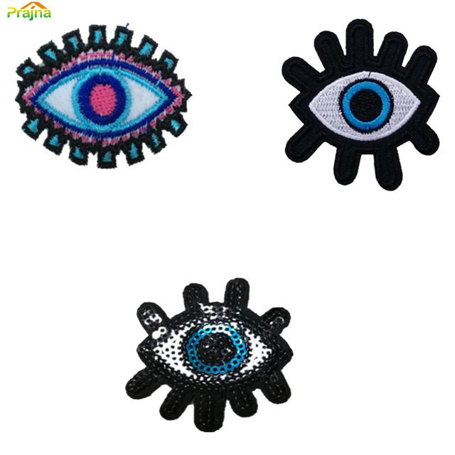 Evil Eye Cartoon Iron On Hippie Patches Kids Cheap Embroidered Cute Patches For Clothes Stickers Badges Custom Eye Patch Lot
