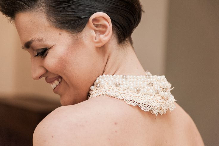 accessori abito da sposa colletto con perle