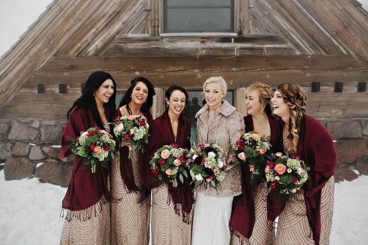 Incredible winter wedding adventure bride and her bridesmaids! A snow covered winter wedding at the Silcox Hut, near the top of Mt. Hood. A historic lodge up the mountain from Timberline Lodge outside of Portland, OR.