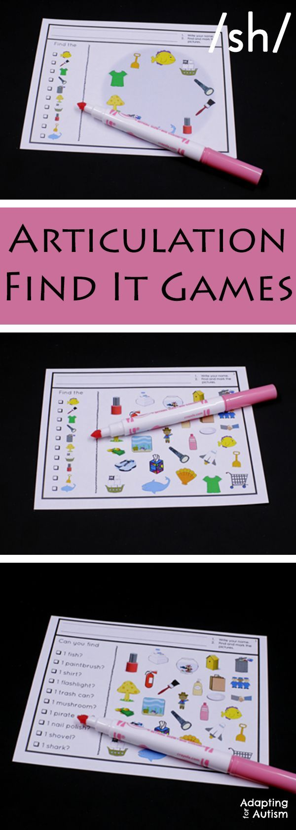 Articulation games for an easy no prep activity to add fun to your speech therapy.  Practice producing the /sh/ sound in all three positions with three levels of difficulty.  Can also be used as a work task in your special education classroom!