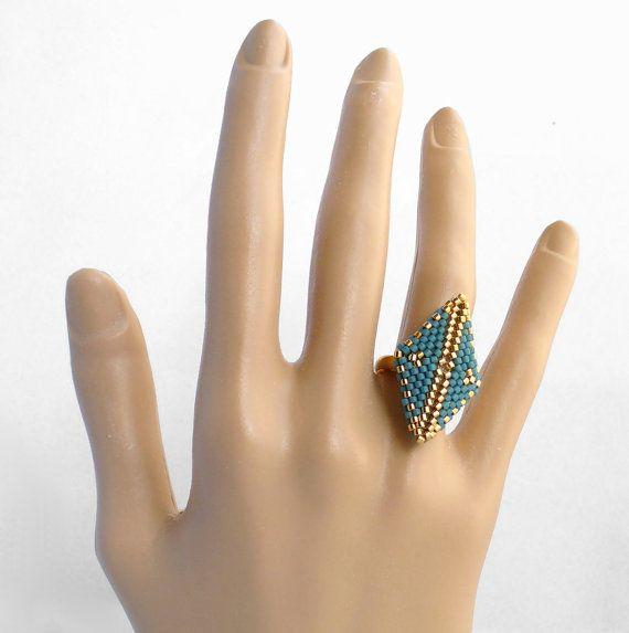 Geometric Ring with Peyote Diamond by Beadwork & Coe