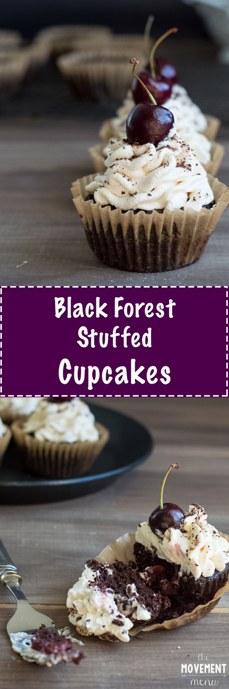 This Black Forest Cupcakes recipe is absolutely to-die-for. They are stuffed with a homemade cherry filling and topped off with fresh whipped cream!
