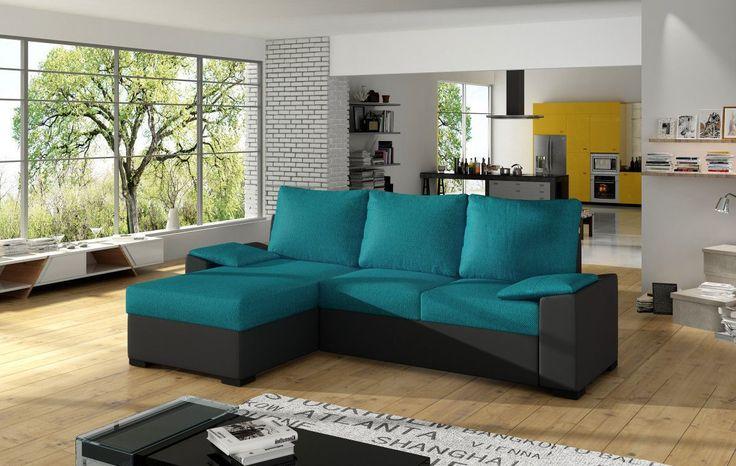 Canapé d'angle convertible 3 places en tissu turquoise et simili cuir noir avec coffre méridienne côté gauche