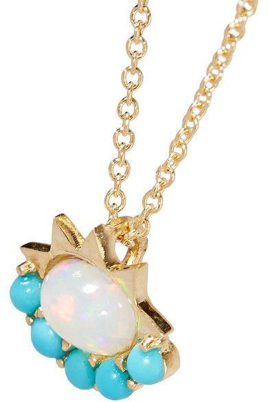 Ileana Makri - 18-karat Gold, Opal And Turquoise Necklace - one size