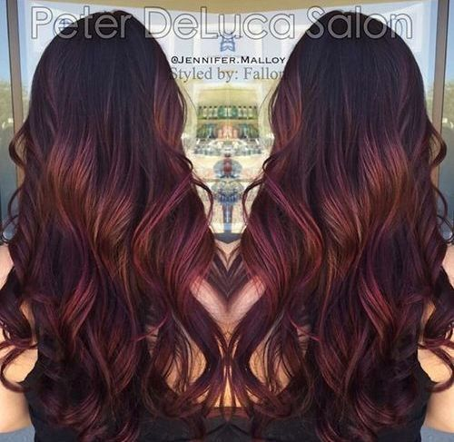 burgundy ombre highlights for dark brown hair
