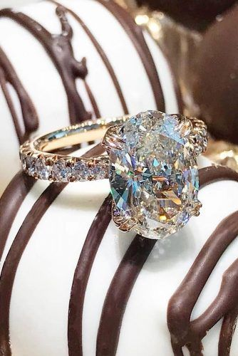 engagement ring trends big oval diamond pave band ring rose gold