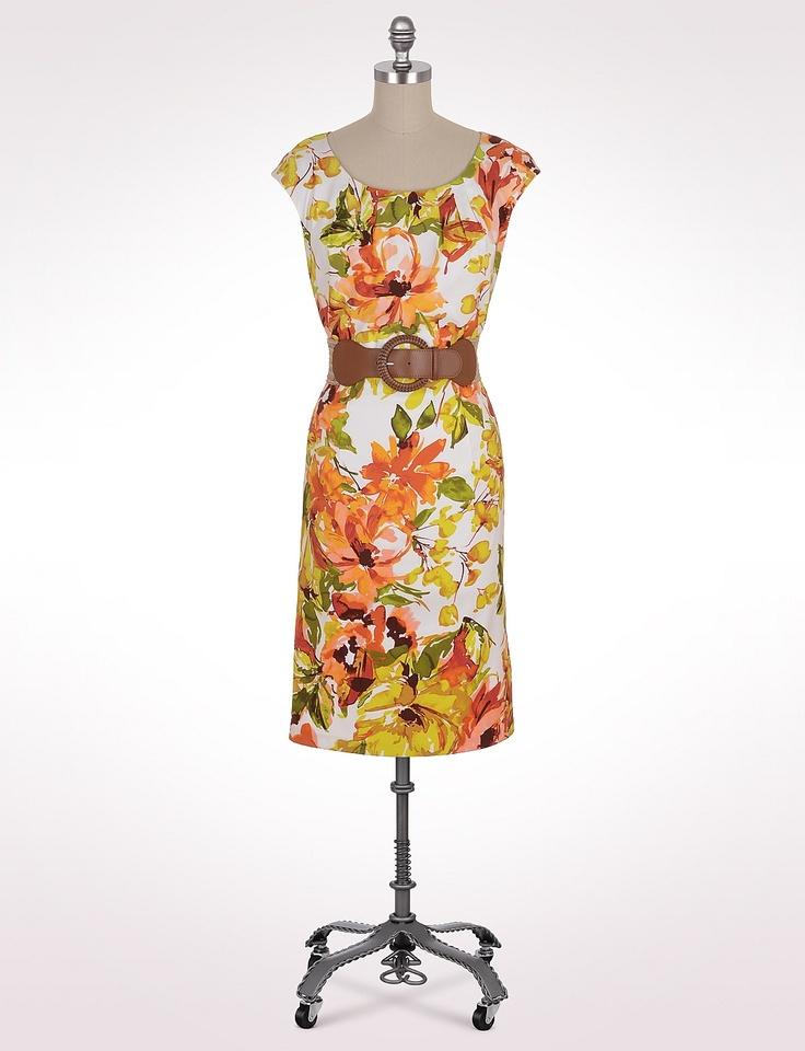 Misses | Dresses | Belted Cap-Sleeve Floral Dress | dressbarn