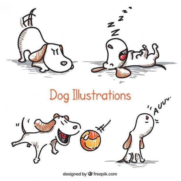 Desenhadas mão ilustrações do cão Vetor Premium