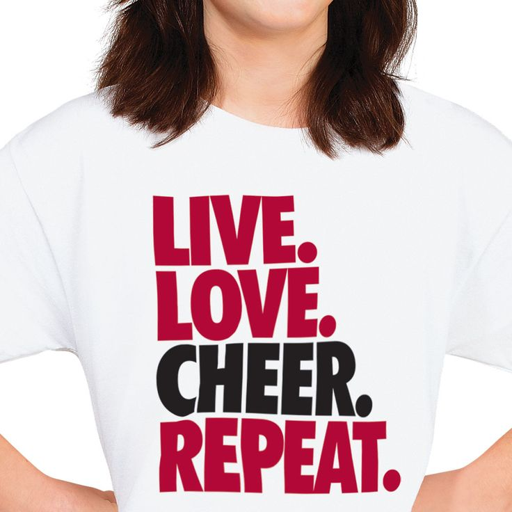 Practice wins cheer competitions, so show off your dedication for cheerleading in a shirt that says live, love, cheer, repeat! Shop affordable graphic tees today.