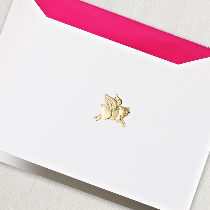 Hand Engraved When Pigs Fly Note: Get off to a flying start in correspondence with these whimsical notes boasting a hand engraved golden pig with wings.