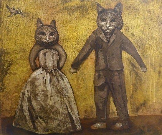Cat Couple / Kissapariskunta  Anna-Maija Mattila-Selin www.anna-maija.fi
