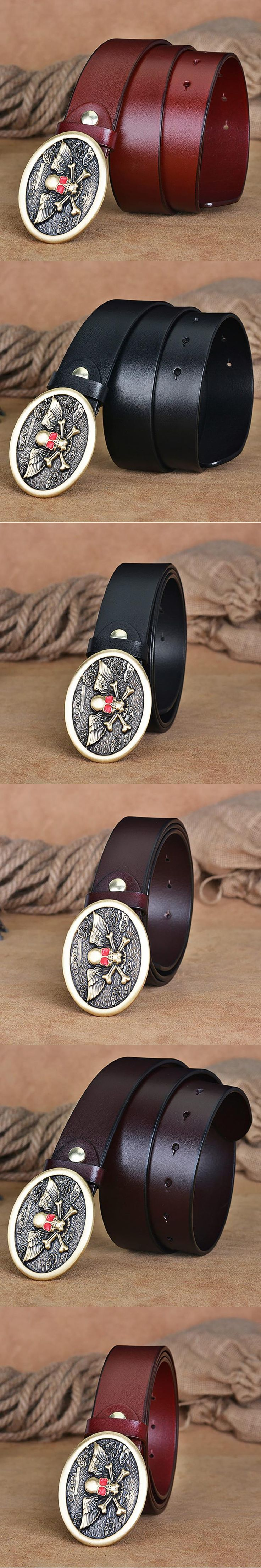 New Designer Luxury Brand Belts for Mens Genuine Leather Male Casual Jeans Vintage Fashion Solid Brass Buckle Strap Punk Skull