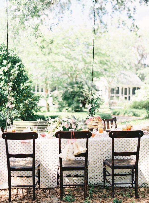 gold dot table linen | Jen Huang