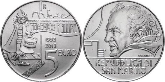 Mundial de Monedas Noticias: San Marino € 5 2013 - Federico Fellini