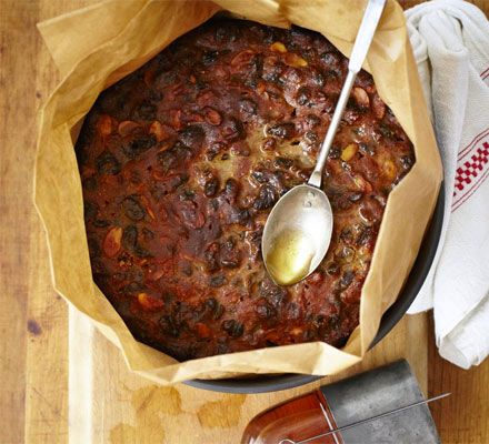 Make & mature Christmas cake... Prepare this fruit cake in advance and feed it regularly with rum, brandy or whisky to build the flavour and keep it moist... Cooking time. Prep: 25 mins...  Cook: 2 hrs, 10 mins Plus cooling... Skill level Easy... Servings. Cuts into 12-15 slices...