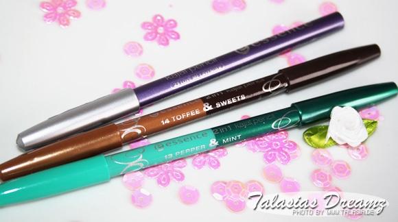 Essence Kajal Pencil 23 Love me Lavender, Essence 2in1 Kajal Pencil 14 Toffee & Sweets, Essence 2in1 Kajal Pencil 13 Pepper & Mint - swatches: http://www.talasia.de/2013/01/27/swatch-neue-pencils-bei-catrice-und-essence/