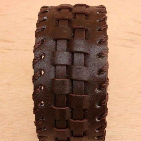 Brown Leather Cuff Bracelet.