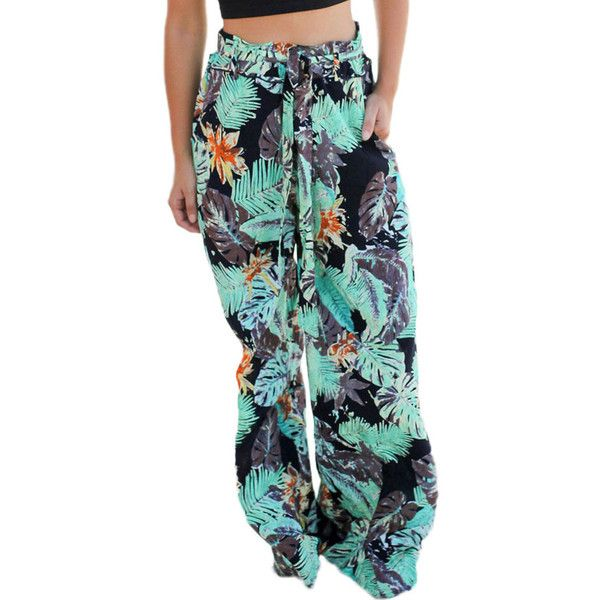 Tropical Green Print Palazzo Pants ($21) ❤ liked on Polyvore featuring pants, high-waisted wide leg pants, green pants, wide leg pants, green high waisted pants and print pants