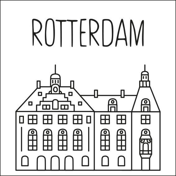 Haal een beetje van Rotterdam in huis met deze leuke 'straat' #raamtekening met een paar van de bekende gebouwen: Kubuswoningen, Stadhuis, Zakkendragershuisje en Euromast, De Dubbelde Palmboom museum, Maastoren, container schip en Erasmusbrug, Hotel New York en Havenbedrijf Rotterdam.