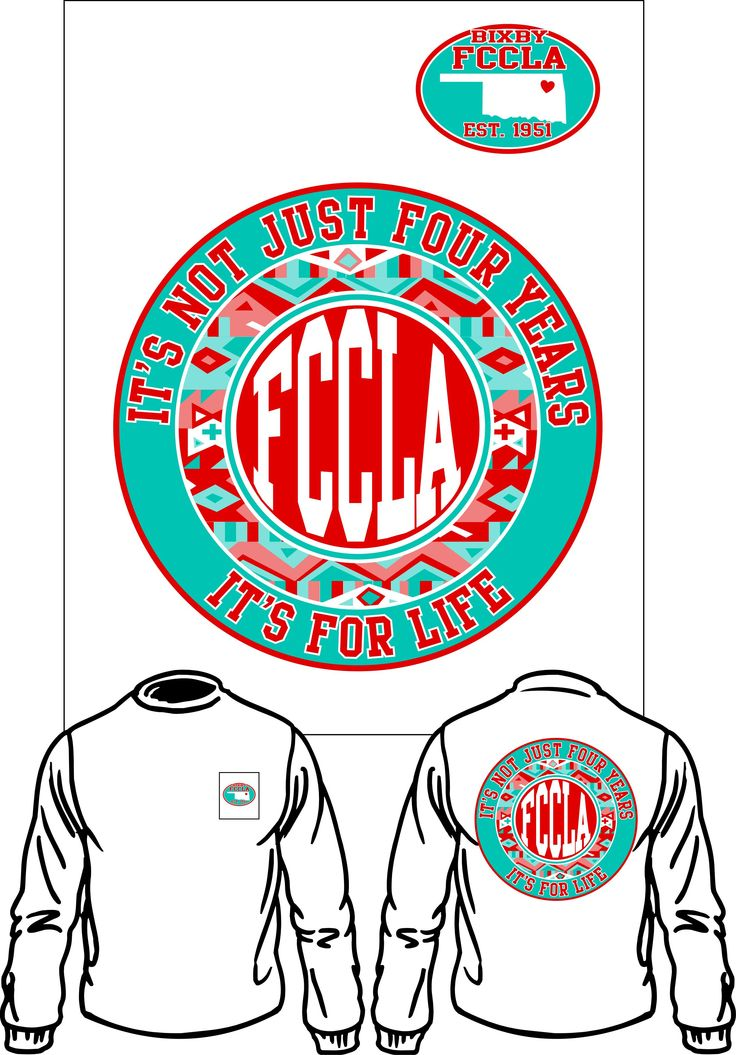 FCCLA shirts are a long sleeve white shirt with a pocket. Shirts are due March 7. Place your order by coming to W-17 or W-21.