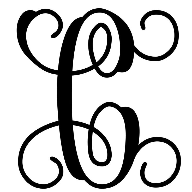 Vine monogram letter c initial initials monograms and for Free monogram template