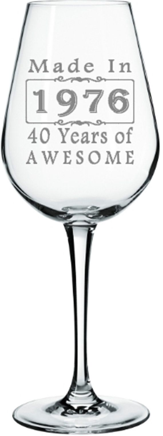 40th Birthday Etched Wine Glass Over the Hill by LightedBottle