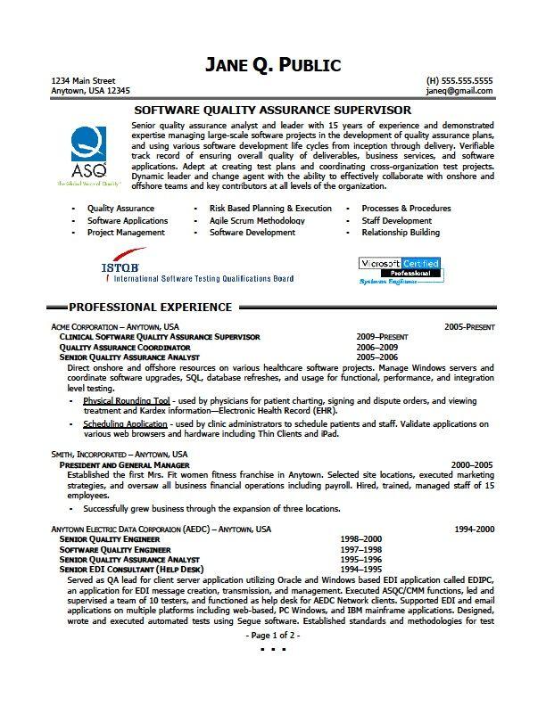 Quality Assurance Supervisor Resume Job Resume Samples Job Resume Samples Resume Examples Resume Summary