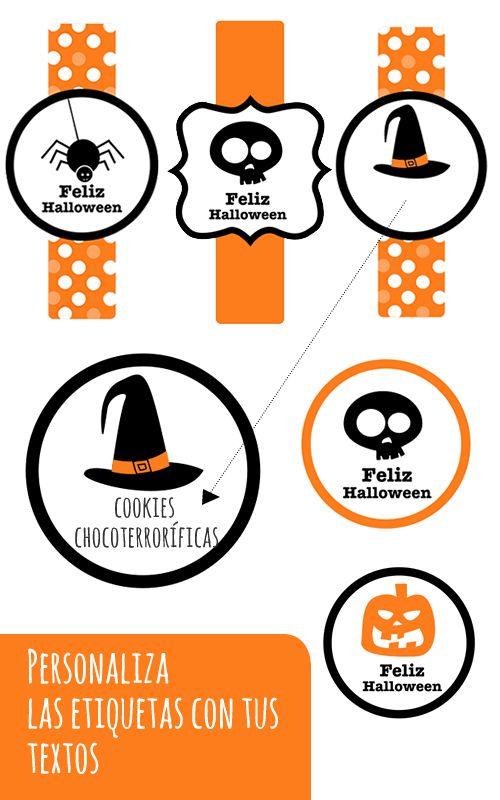 Dibujos para Colorear: Etiquetas Halloween