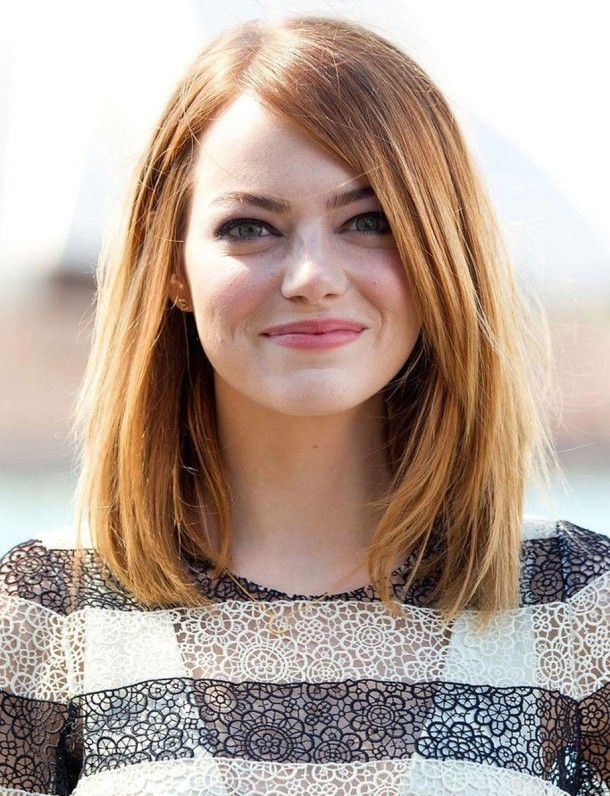 2014 Emma Stone Long Haircuts For Round Faces Womens Long