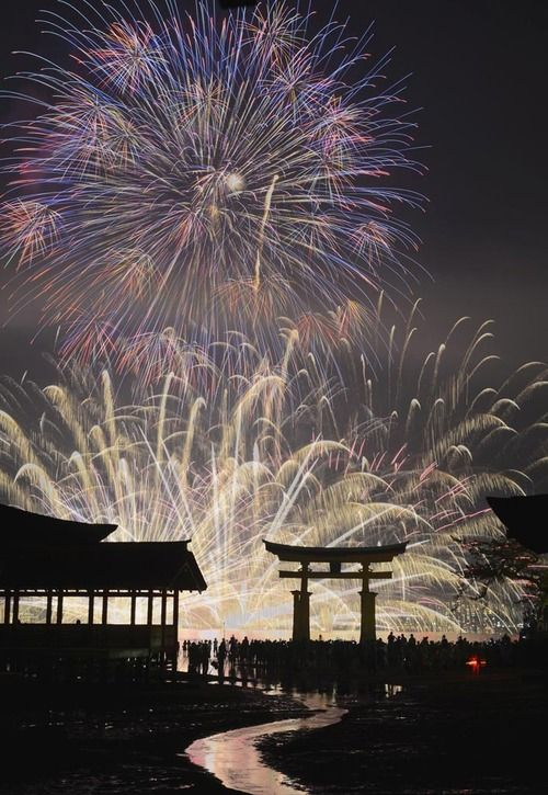 Miyajima Water Fireworks Display.  Japan