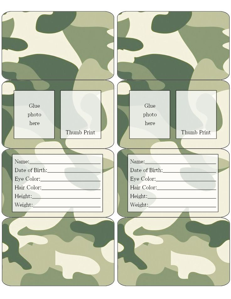 Camouflage Children's ID .... free to use & free to share for personal use only. <3
