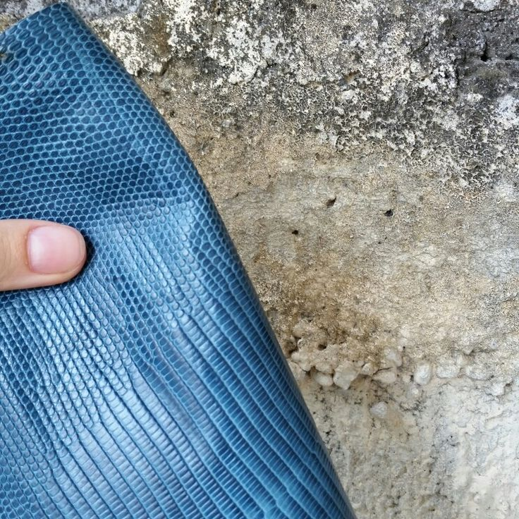 Blue lizard varan handmade style leather