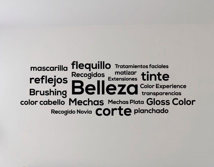 decorar el interior de la peluquería con vinilos de texto con palabras relacionadas con el corte y cuidado del cabello