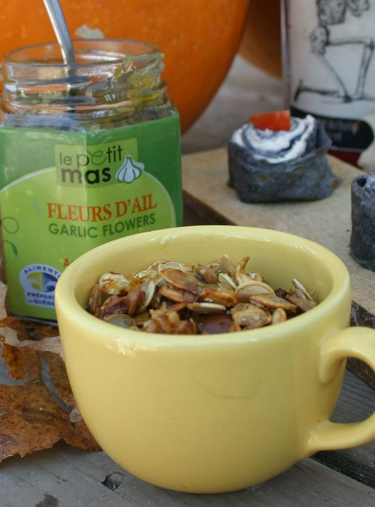 Recipe - Roasted pumpkin seeds for garlic lovers. Must try @LePetitMas fermented garlic scapes.