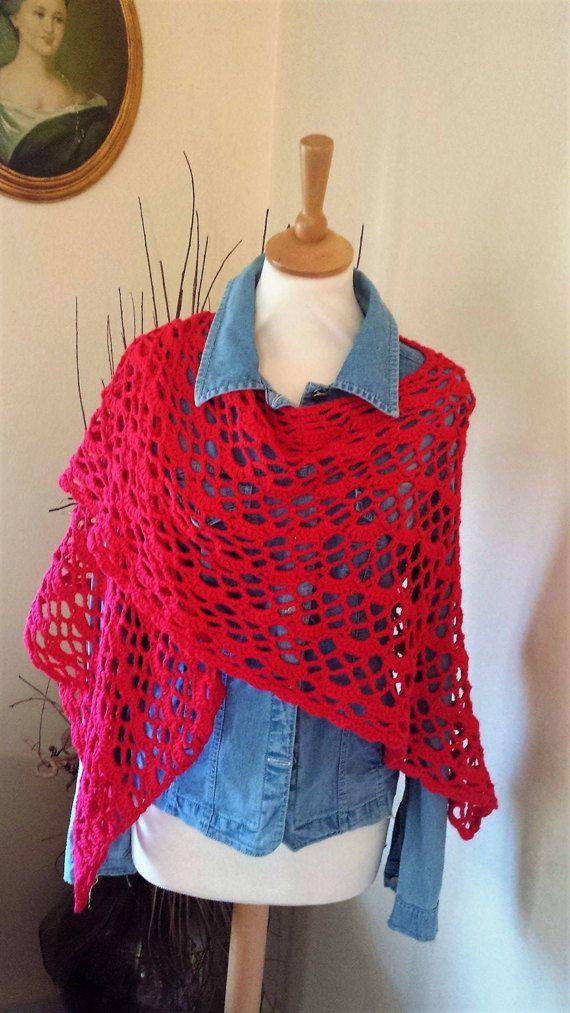 Red handmade crochet shawl Organic cotton by AnnaHandmadeknitwear